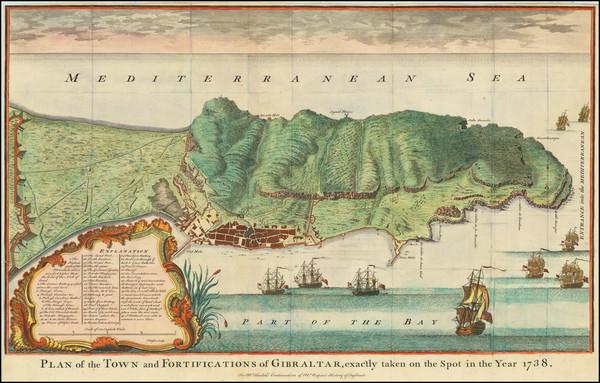 50-Gibraltar Map By Paul de Rapin de Thoyras / James Basire