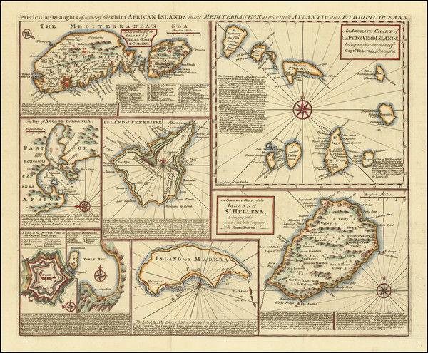 5-Malta and African Islands, including Madagascar Map By Emanuel Bowen