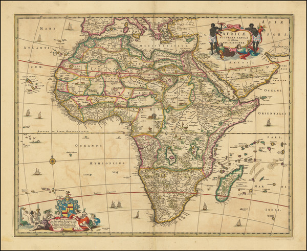 44-Africa Map By Nicolaes Visscher I