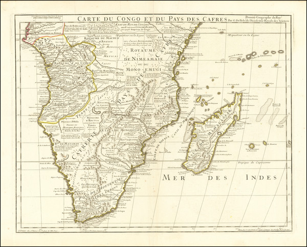 47-South Africa Map By Guillaume De L'Isle  &  Philippe Buache