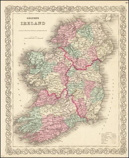 27-Ireland Map By Joseph Hutchins Colton