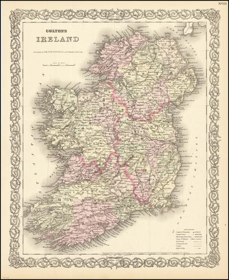 49-Ireland Map By Joseph Hutchins Colton