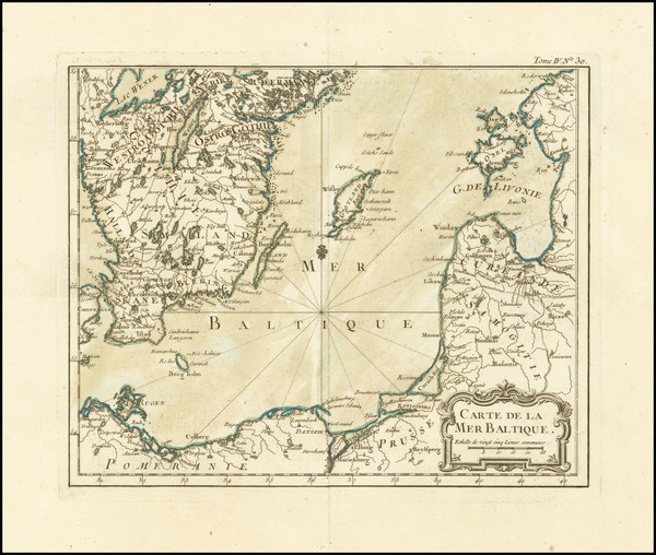 33-Poland and Baltic Countries Map By Jacques Nicolas Bellin