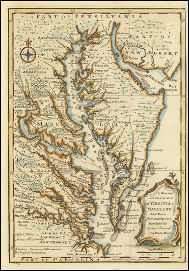 28-Maryland, Delaware, Southeast and Virginia Map By Emanuel Bowen