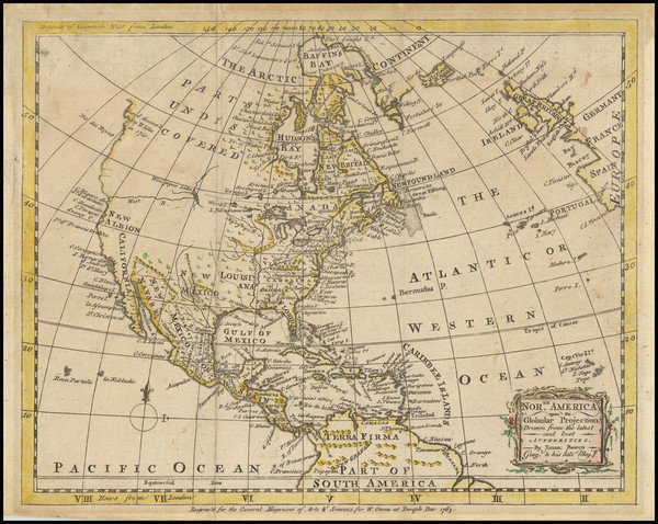 57-North America Map By Emanuel Bowen