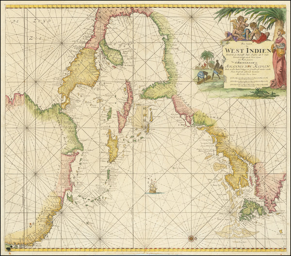 31-United States, Florida, Caribbean, Central America and Canada Map By Johannes Van Keulen