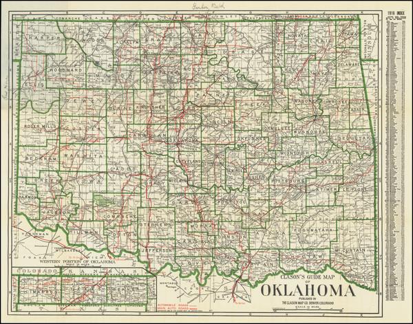 100-Oklahoma & Indian Territory Map By The Clason Map Company