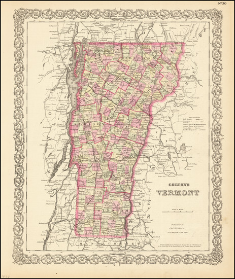 80-Vermont Map By G.W.  & C.B. Colton