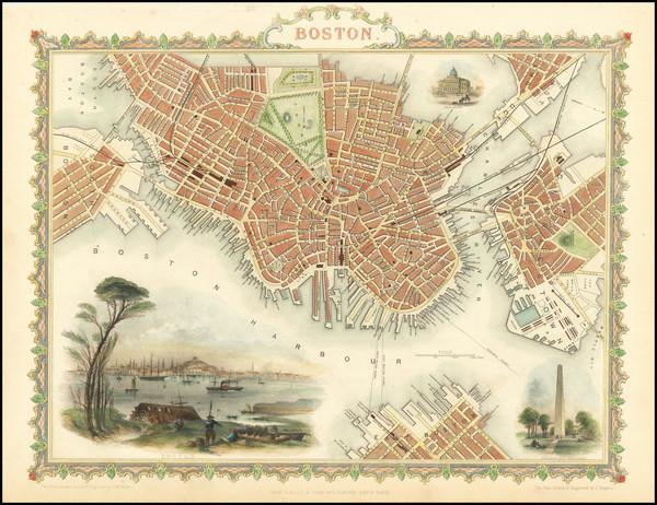 1-Massachusetts and Boston Map By John Tallis