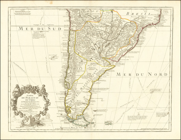73-Argentina, Chile, Paraguay & Bolivia and Uruguay Map By Guillaume De L'Isle / Philippe Buac