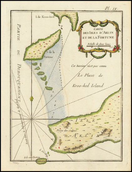 100-Bahamas Map By Jacques Nicolas Bellin