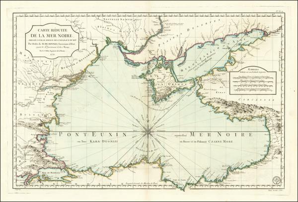 67-Russia, Ukraine, Romania, Bulgaria and Turkey & Asia Minor Map By Jacques Nicolas Bellin /