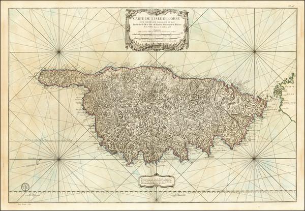 77-Corsica Map By Jacques Nicolas Bellin / Depot de la Marine
