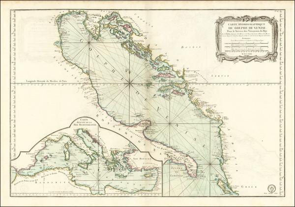 77-Balkans, Italy and Mediterranean Map By Jacques Nicolas Bellin / Depot de la Marine