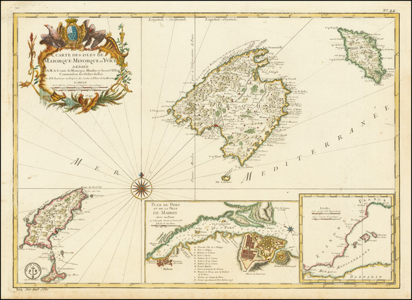 64-Balearic Islands Map By Jacques Nicolas Bellin