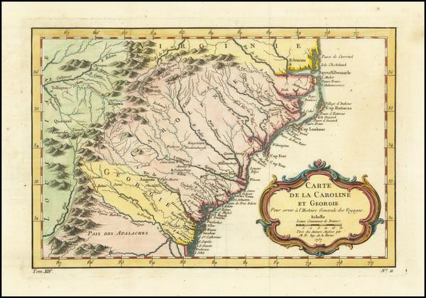 82-Southeast, Georgia, North Carolina and South Carolina Map By Jacques Nicolas Bellin