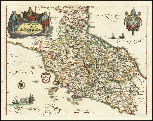 30-Northern Italy and Southern Italy Map By Matthaus Merian