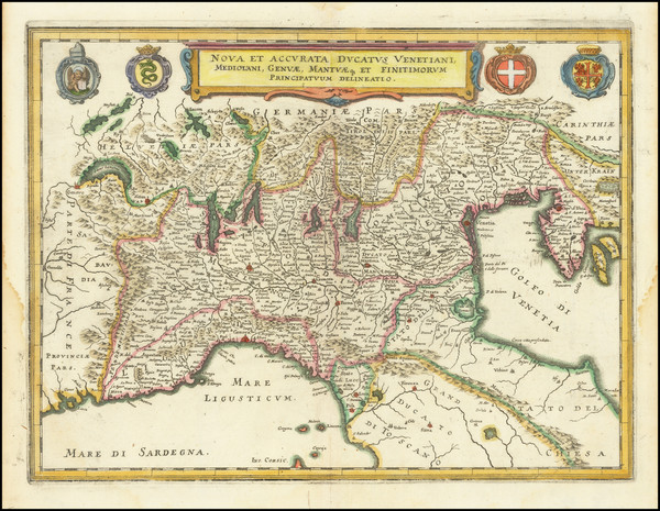 20-Northern Italy Map By Matthaus Merian