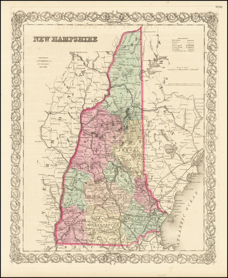 1-New Hampshire Map By Joseph Hutchins Colton