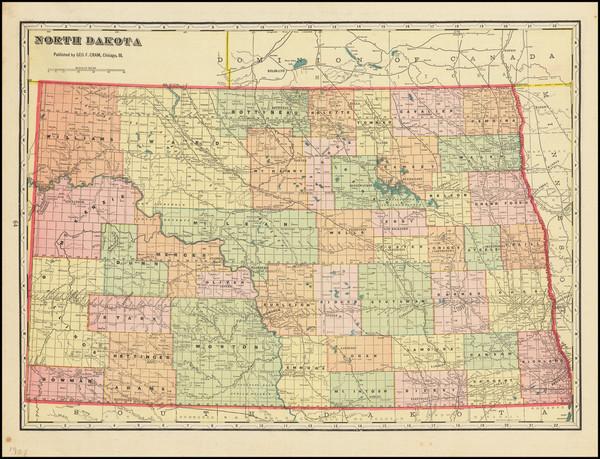 57-North Dakota Map By George F. Cram