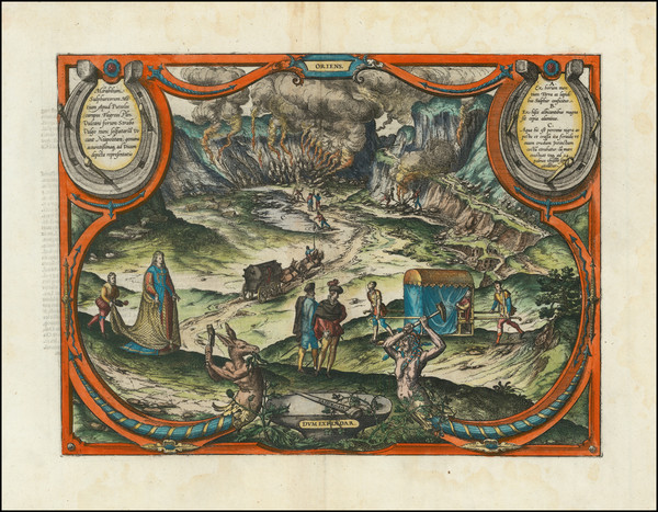 46-Southern Italy and Curiosities Map By Georg Braun  &  Frans Hogenberg