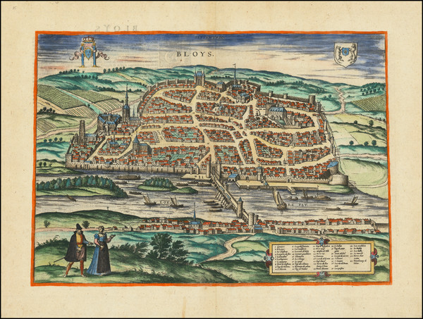 60-Other French Cities and Centre et Pays de la Loire Map By Georg Braun  &  Frans Hogenberg