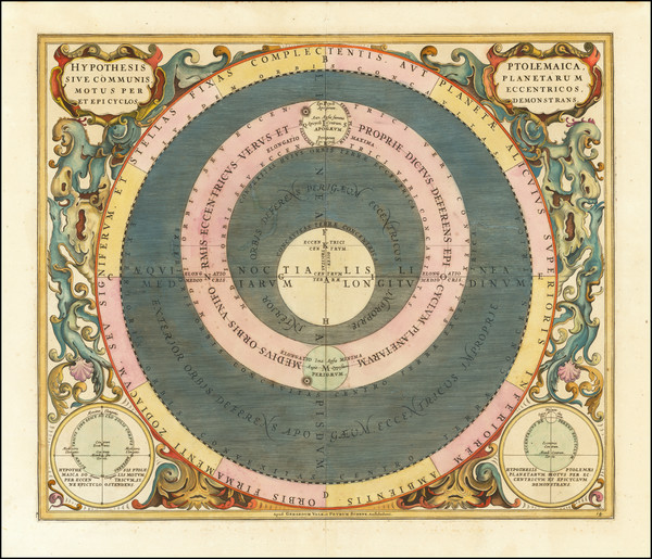 19-Western Hemisphere, Southern Hemisphere and Celestial Maps Map By Andreas Cellarius
