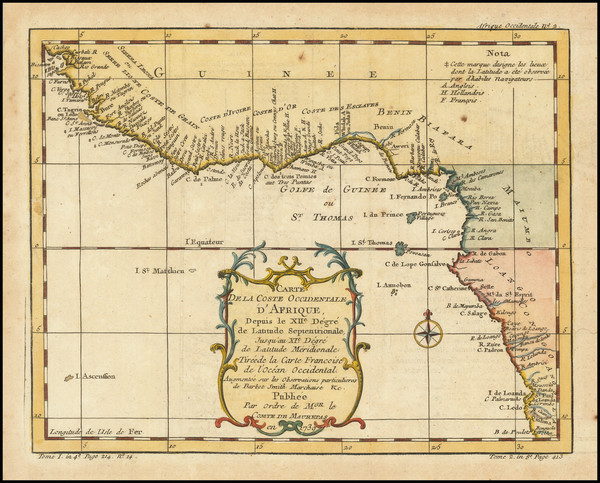 48-West Africa Map By Jacques Nicolas Bellin