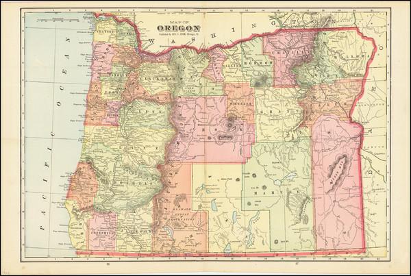 6-Oregon Map By George F. Cram