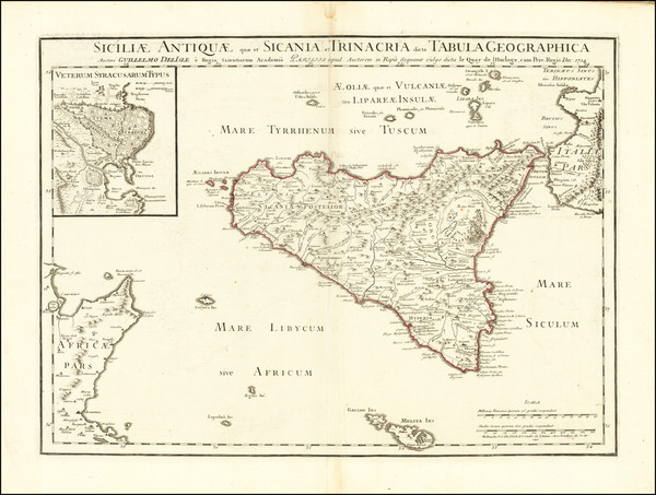 67-Sicily Map By Philippe Buache