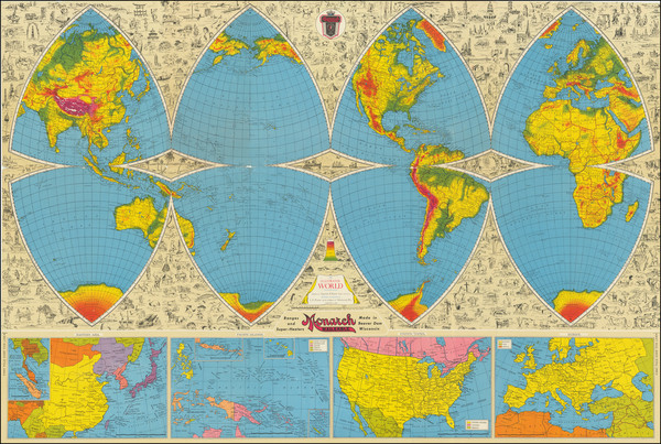 60-World and Pictorial Maps Map By Harold B. Ward / Lloyd E. Pitner