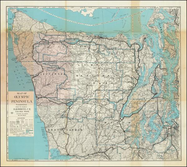 39-Washington Map By D.H. White