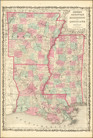 43-Louisiana, Mississippi and Arkansas Map By Alvin Jewett Johnson  &  Benjamin P Ward