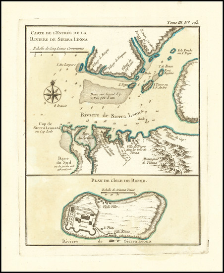 63-West Africa Map By Jacques Nicolas Bellin