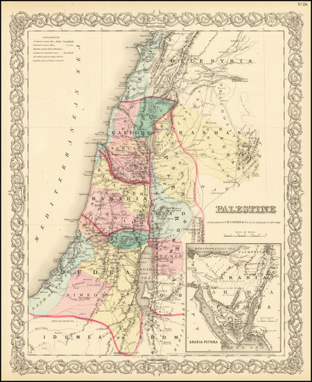 27-Holy Land Map By G.W.  & C.B. Colton