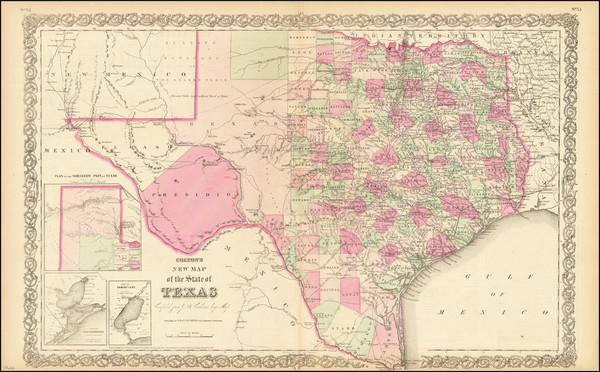 50-Texas Map By Joseph Hutchins Colton