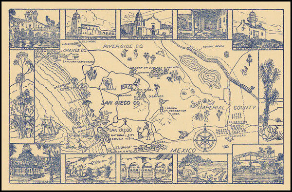 85-Pictorial Maps and San Diego Map By Handcraft Studios