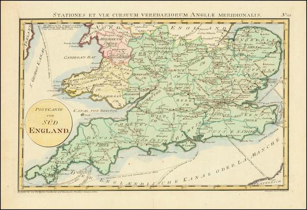 28-England Map By Franz Johann Joseph von Reilly