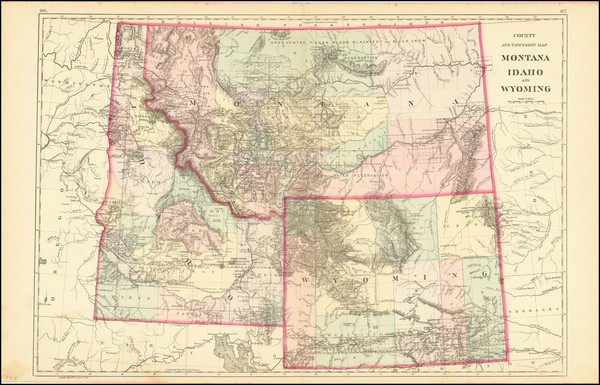 21-Rocky Mountains, Idaho, Montana and Wyoming Map By Samuel Augustus Mitchell Jr.