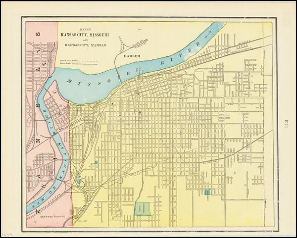 87-Kansas and Missouri Map By George F. Cram