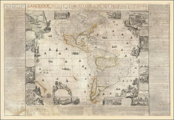 17-North America, South America and America Map By Nicolas de Fer