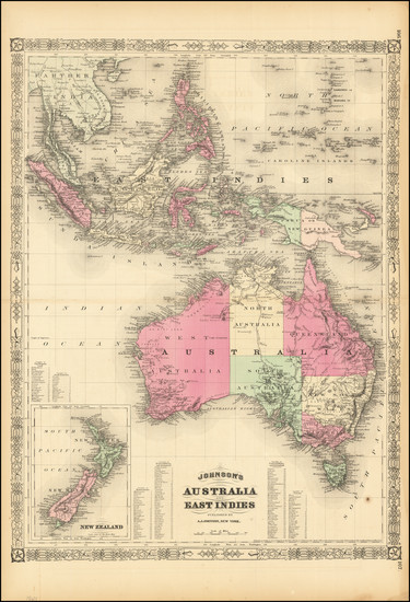 84-Southeast Asia, Philippines, Indonesia, Australia and New Zealand Map By Alvin Jewett Johnson