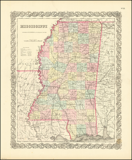 11-Mississippi Map By Joseph Hutchins Colton