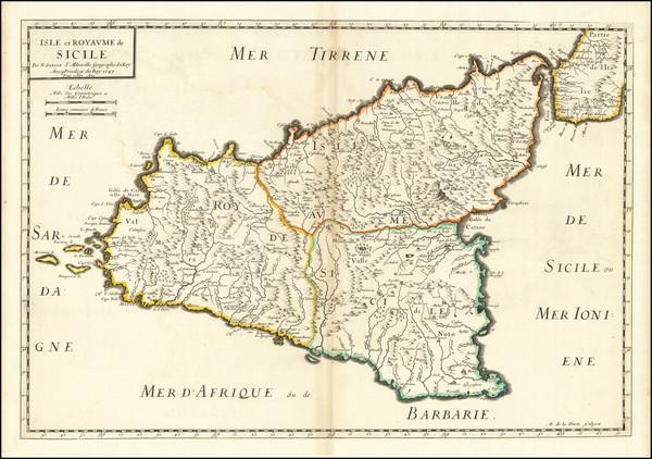 69-Sicily Map By Nicolas Sanson