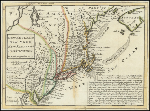 75-New England, Massachusetts, New York State, Mid-Atlantic, New Jersey and Pennsylvania Map By He