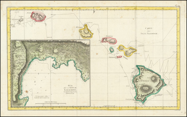 61-Hawaii and Hawaii Map By James Cook