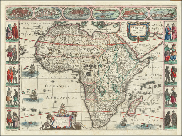 99-Africa and Africa Map By Jodocus Hondius / Jan Jansson