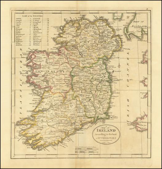 46-Ireland Map By Mathew Carey