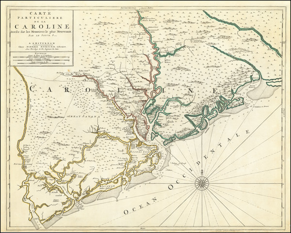 74-South Carolina Map By Pierre Mortier