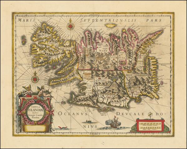 25-Iceland Map By Jodocus Hondius